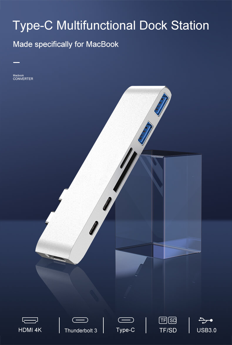 7 in 1 Type C Hub Dual Type-C Aluminum Card Reader USB-C Hub 8