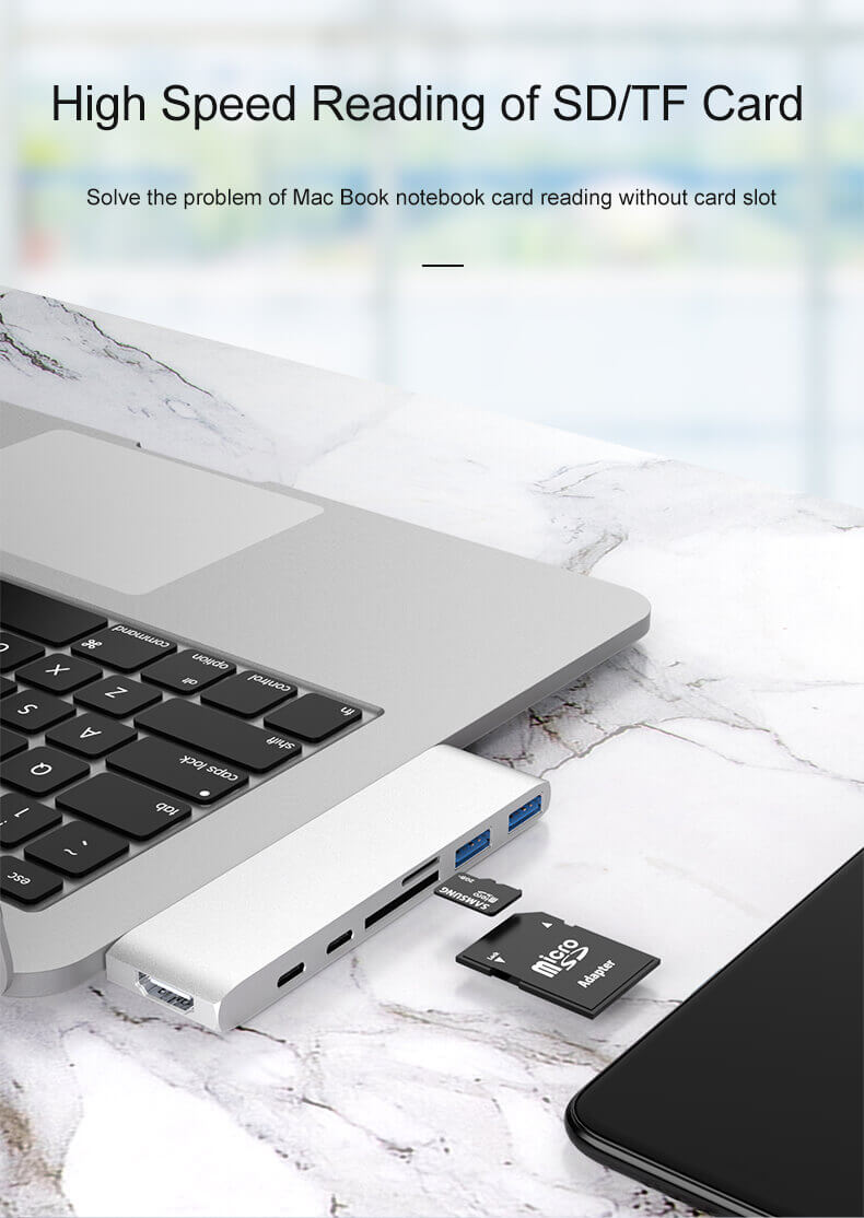 7 in 1 Type C Hub Dual Type-C Aluminum Card Reader USB-C Hub 18