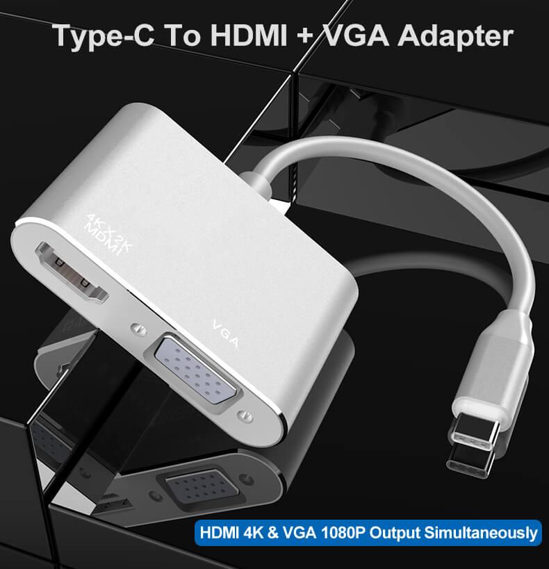 High Quality USB 3.1 Type-C to HDMI VGA USB-C to HDMI VGA Adapter 10