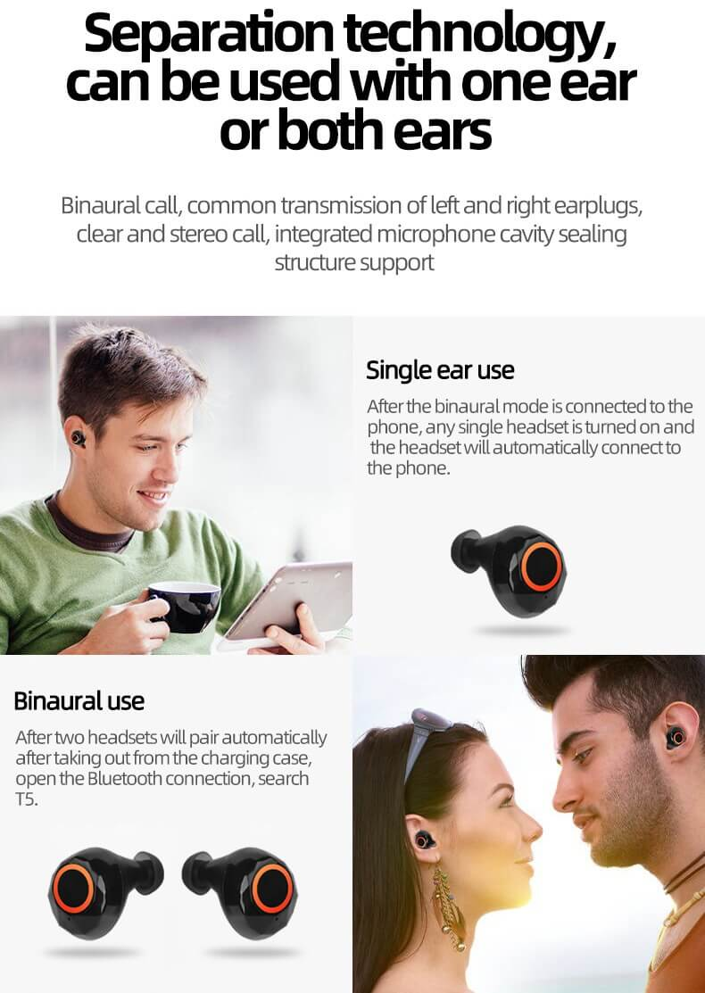 2020 New TWS Earbuds In-ear Bluetooth Headphone Stereo Sport Headset 18