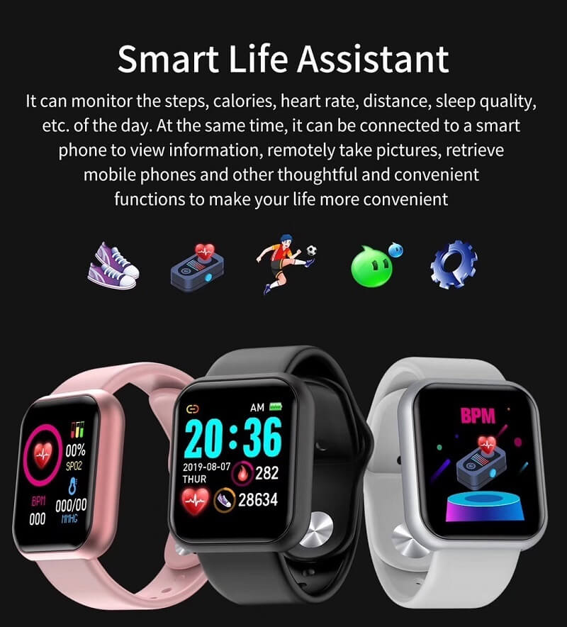 Y68 Smart Watch Sports Bluetooth Watch Cheap Promotional Gift 10
