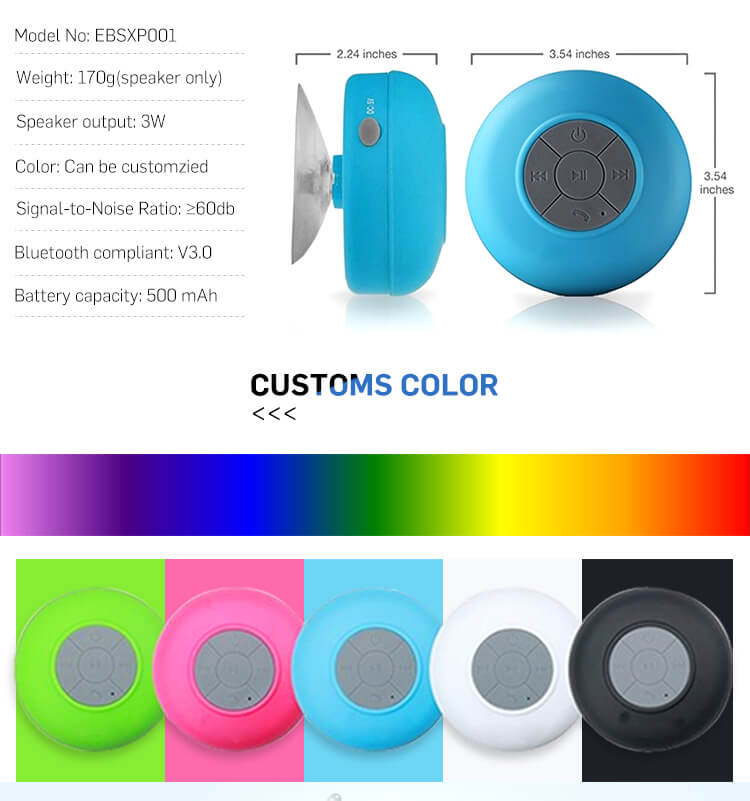 BTS06 IPX4 waterproof sucker Bluetooth speaker mobile phone wireless mini speaker 14