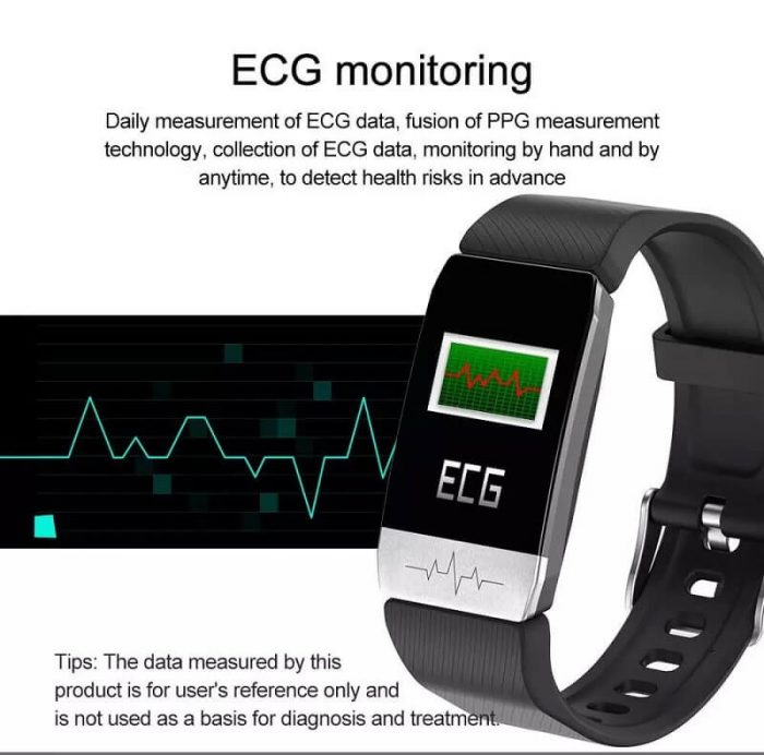 T1 Smart Band with Thermometer ECG Temperature Smartwatch 6