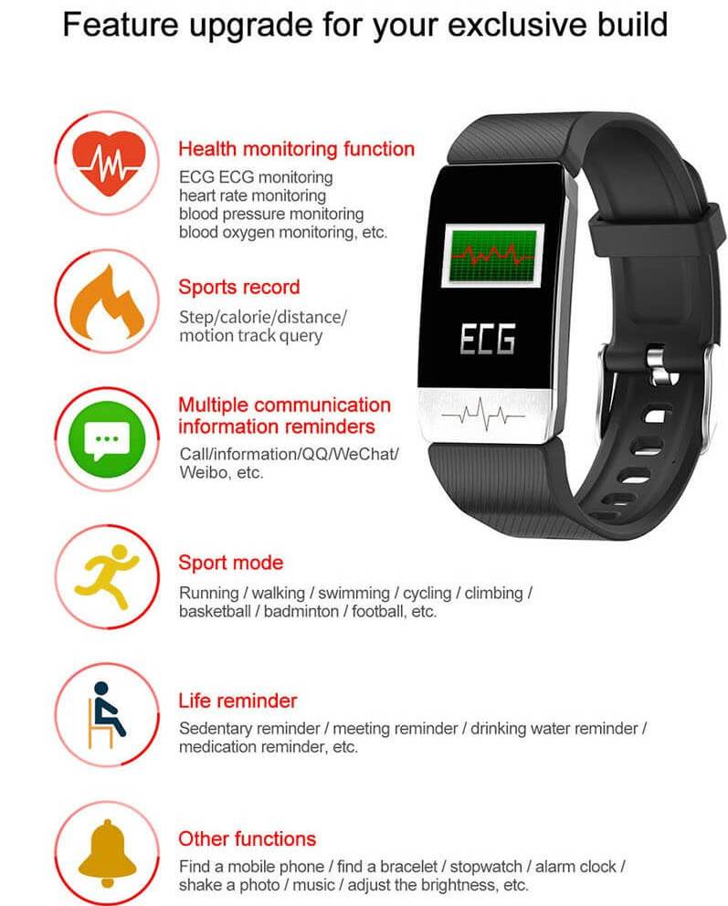 T1 Smart Band with Thermometer ECG Temperature Smartwatch 10