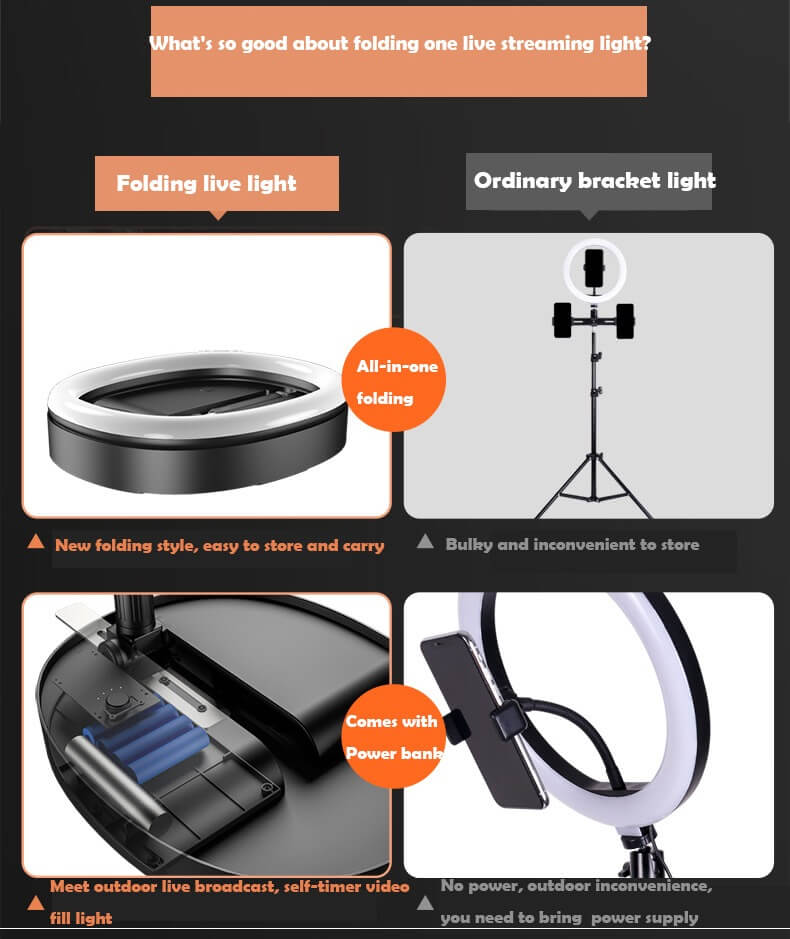 Hot Selling WS8 phone holder with Ring light Built-in battery Foldable Selfie for Youtube Video Live Streaming 18