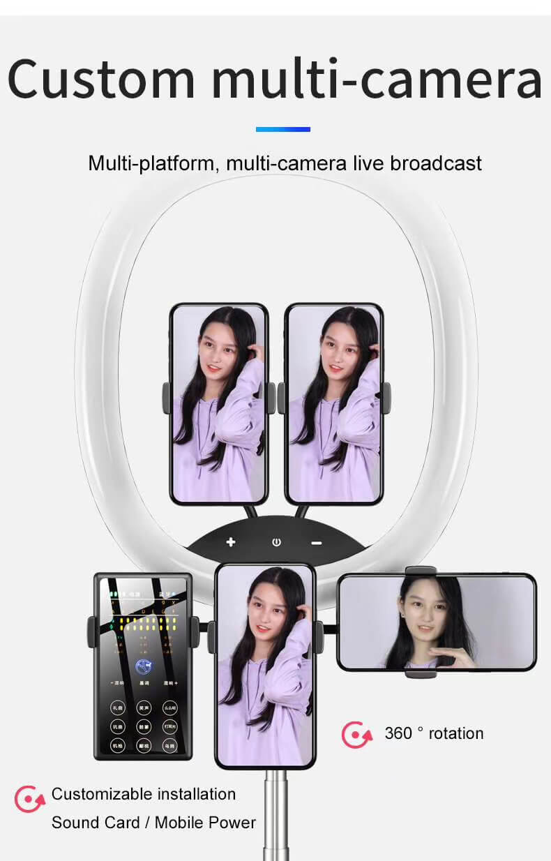 Hot Selling WS8 phone holder with Ring light Built-in battery Foldable Selfie for Youtube Video Live Streaming 24