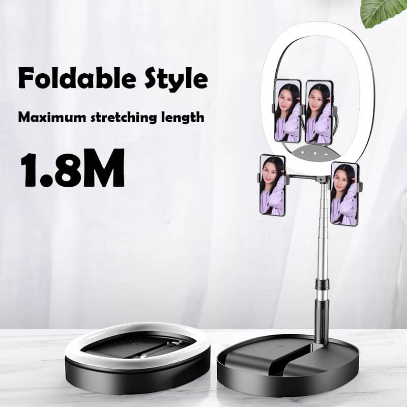 Hot Selling WS8 phone holder with Ring light Built-in battery Foldable Selfie for Youtube Video Live Streaming 4