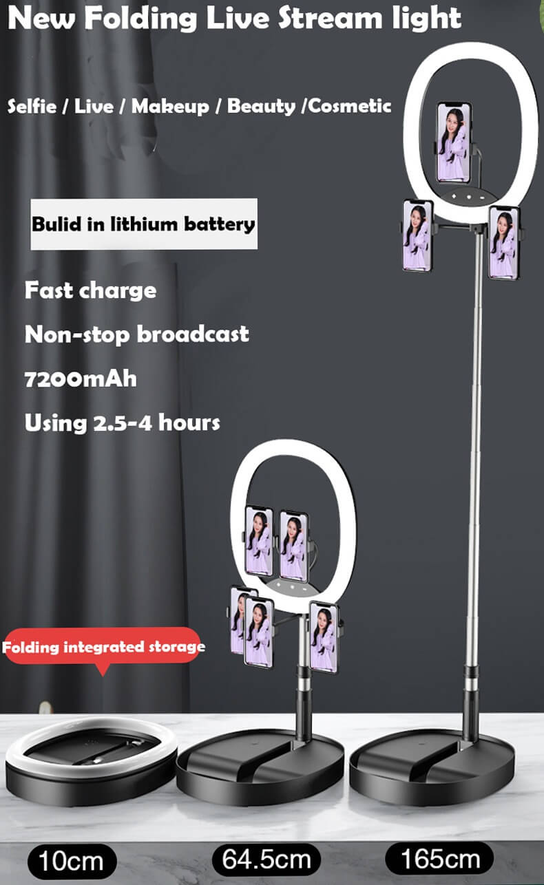 Hot Selling WS8 phone holder with Ring light Built-in battery Foldable Selfie for Youtube Video Live Streaming 10