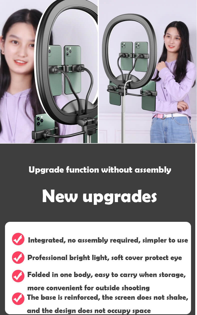 Hot Selling WS8 phone holder with Ring light Built-in battery Foldable Selfie for Youtube Video Live Streaming 16
