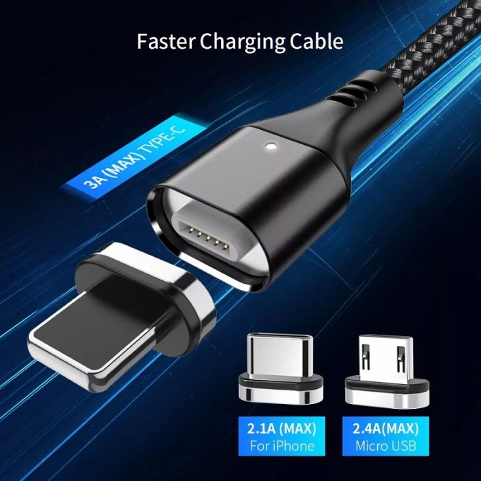 2020 New Hot Selling 3A Magnetic 3 in 1 Charging Cable Type-C Android IOS USB Data Cable 6