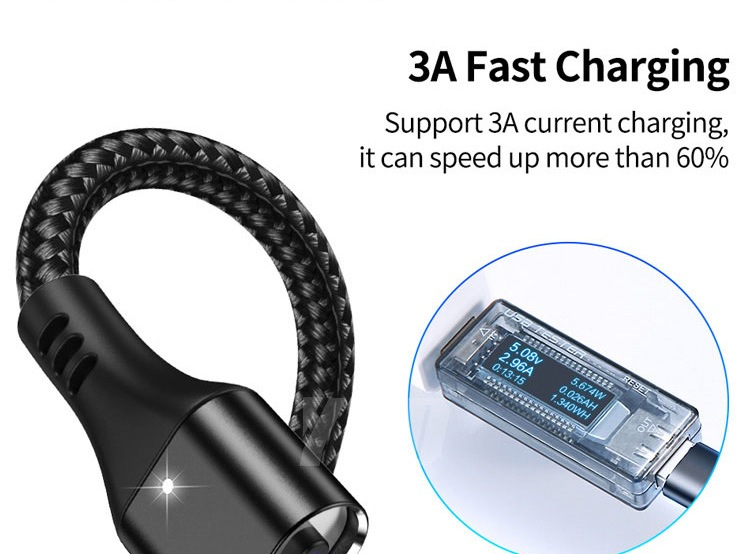 2020 New Hot Selling 3A Magnetic 3 in 1 Charging Cable Type-C Android IOS USB Data Cable 14