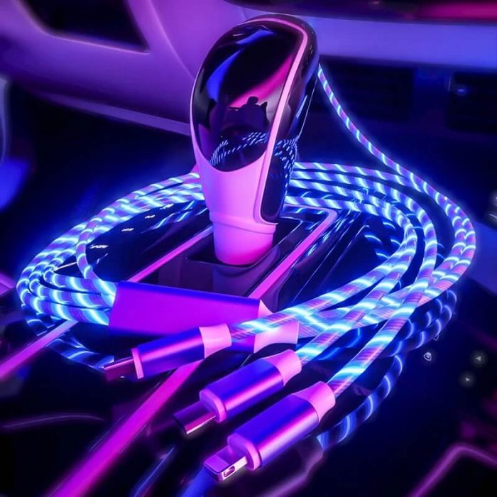 2020 New Cellphone Fast Charging Data Cable Trending LED Flowing Light Magnetic Charging Cable 2