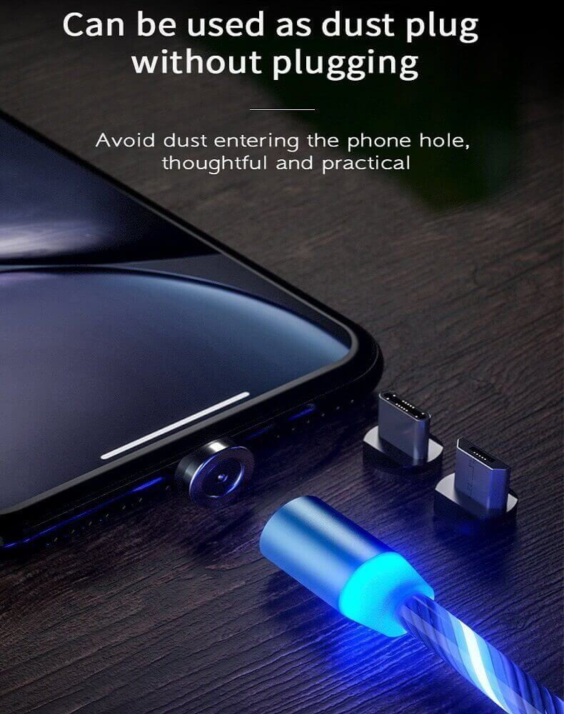 2020 New Cellphone Fast Charging Data Cable Trending LED Flowing Light Magnetic Charging Cable 20