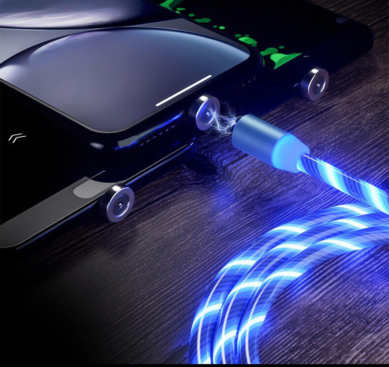 2020 New Cellphone Fast Charging Data Cable Trending LED Flowing Light Magnetic Charging Cable 32
