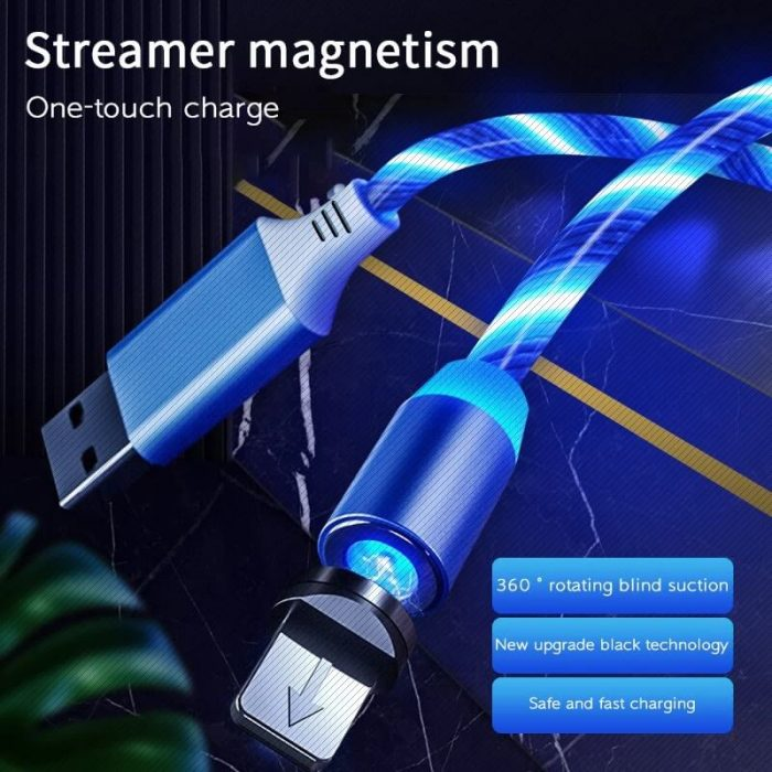 2020 New Cellphone Fast Charging Data Cable Trending LED Flowing Light Magnetic Charging Cable 6